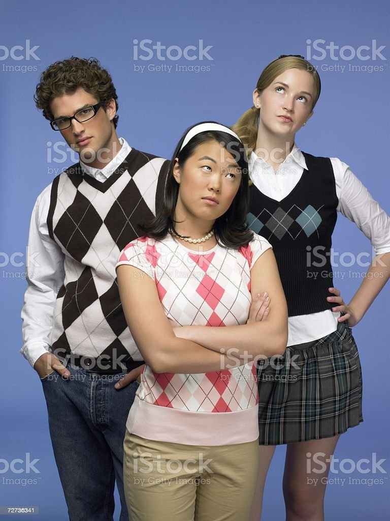 Three high school students royalty-free stock photo