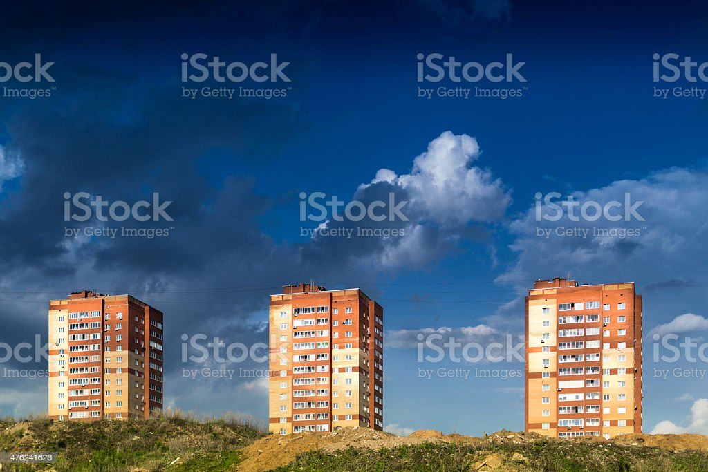 Three High-Rise Buildings and Sky stock photo