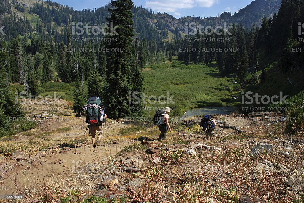 Three Hikers royalty-free stock photo