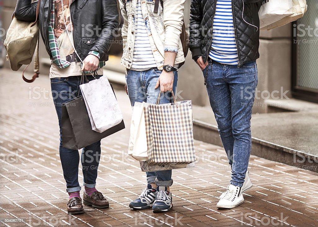 Three hipster men fashion stock photo