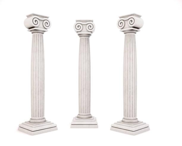 白い背景に分離された 3 つの歴史的な建築コラム。3 d レンダリング。 - 寺院 ストックフォトと画像