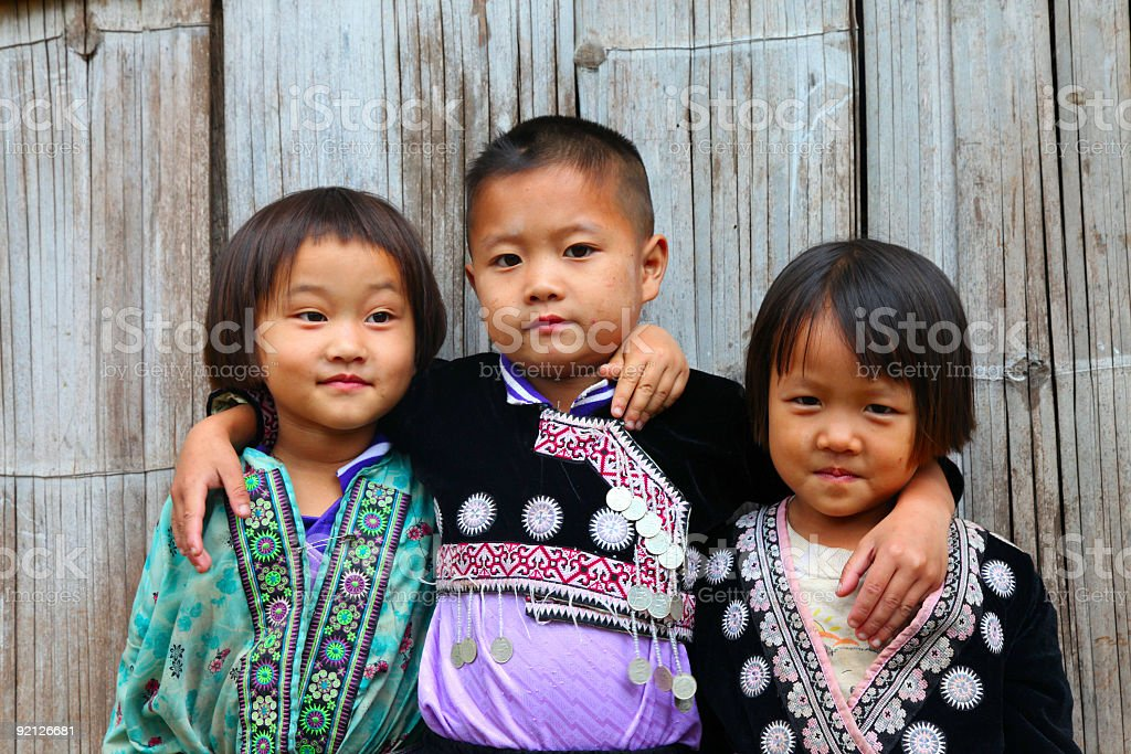Three Hmong children stock photo