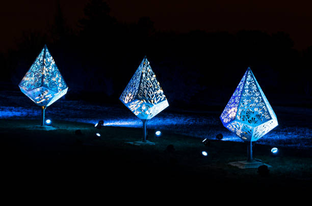 Three Holiday Fixtures in Blue Glow stock photo