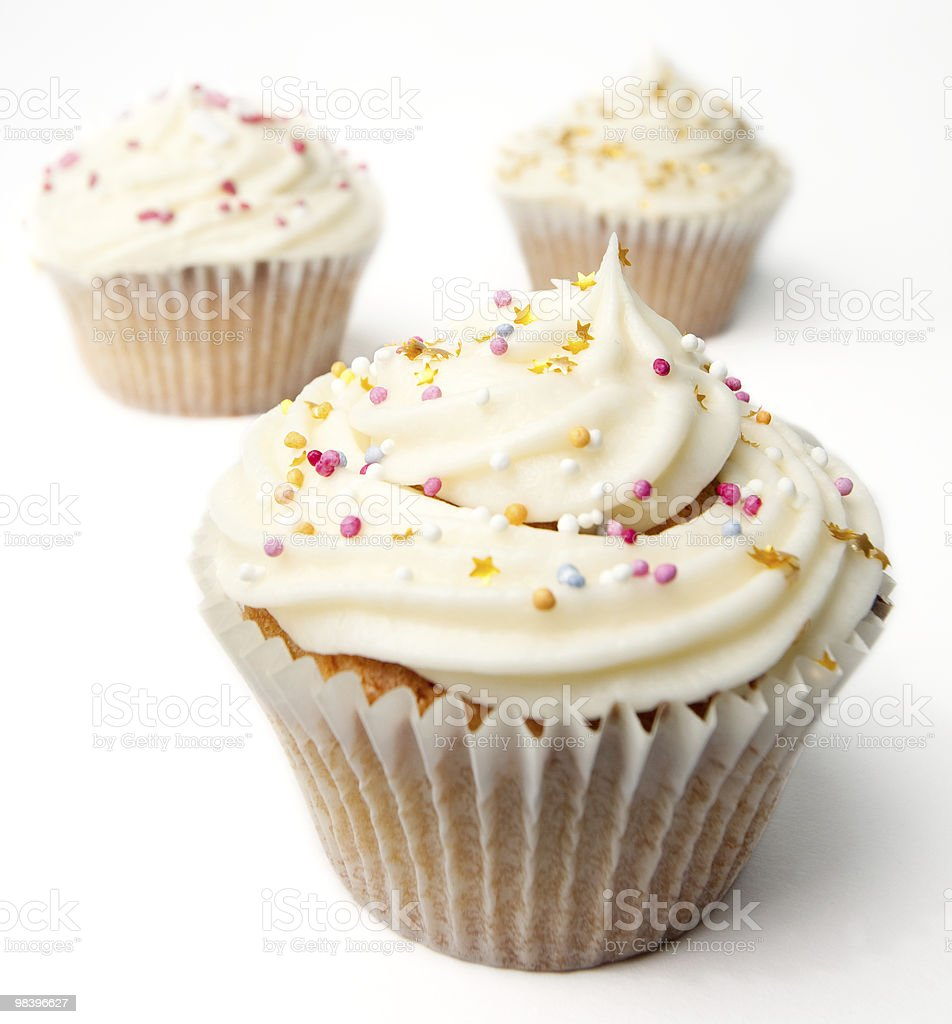 Three Homemade Cupcakes royalty-free stock photo