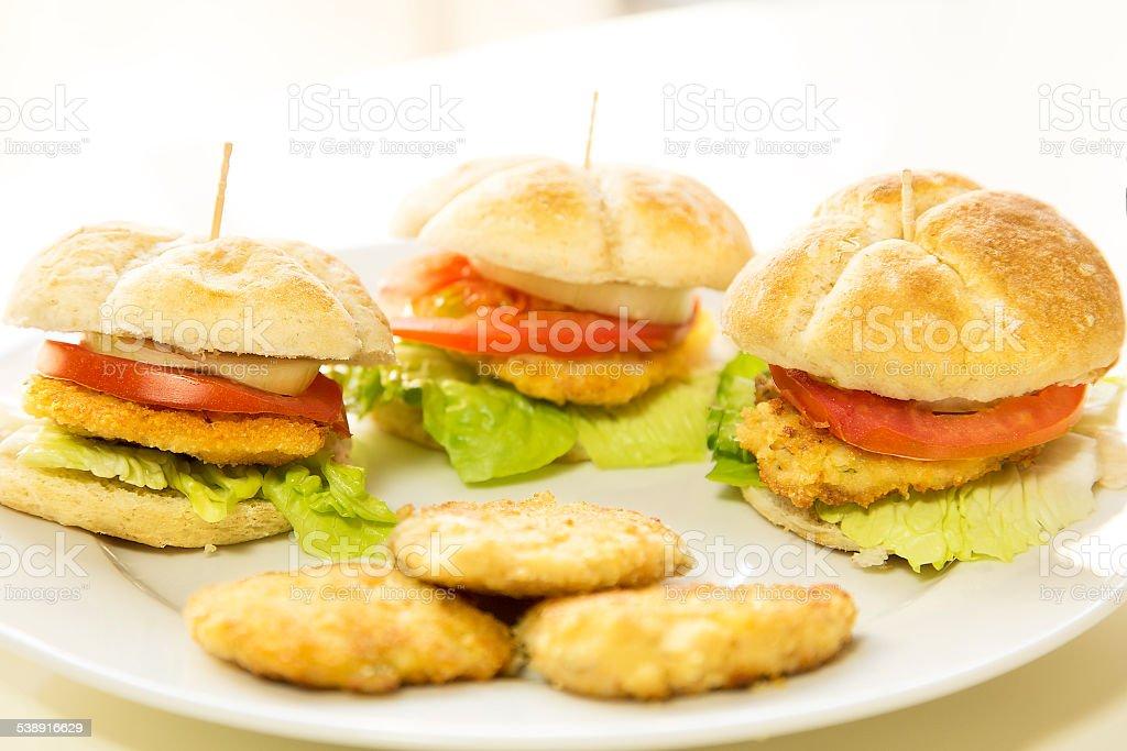 Three homemade mini hamburguers stock photo