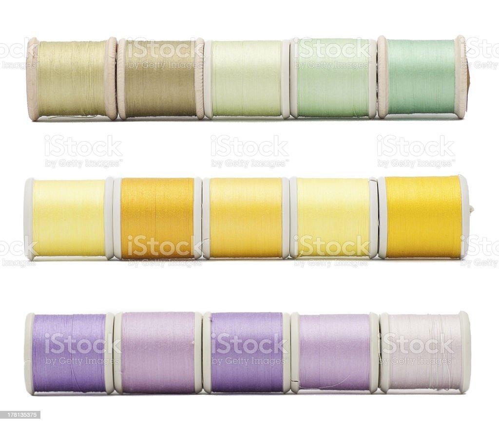 Three horizontal borders of sewing threads royalty-free stock photo