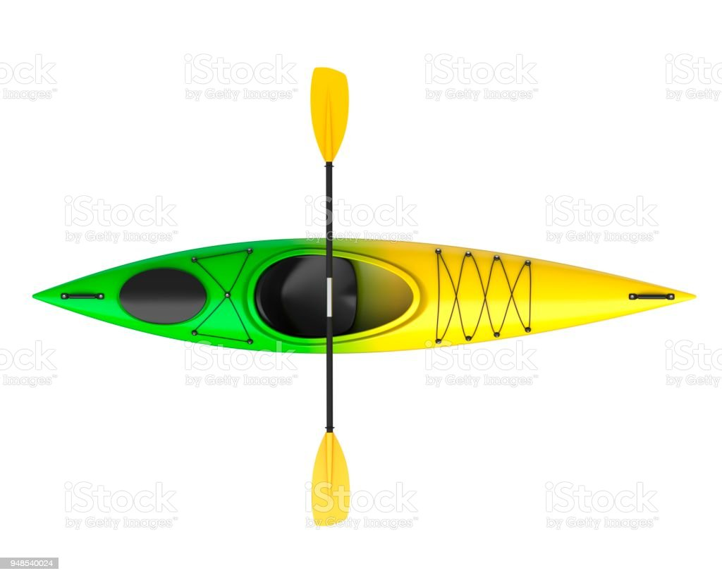 Three horizontal view of yellow green crossover kayak with paddle. Whitewater and river running kayak. 3D render, isolated on white background. stock photo