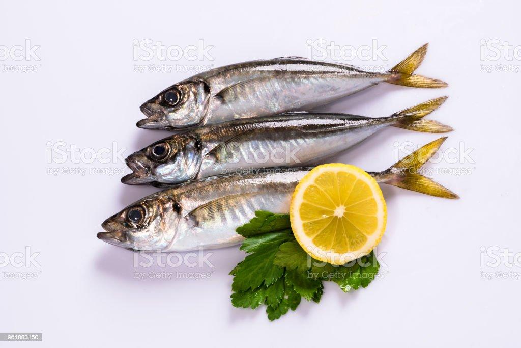 三馬鯖魚和檸檬 - 免版稅亞洲圖庫照片