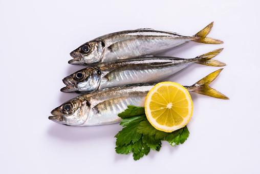 三馬鯖魚和檸檬 照片檔及更多 亞洲 照片