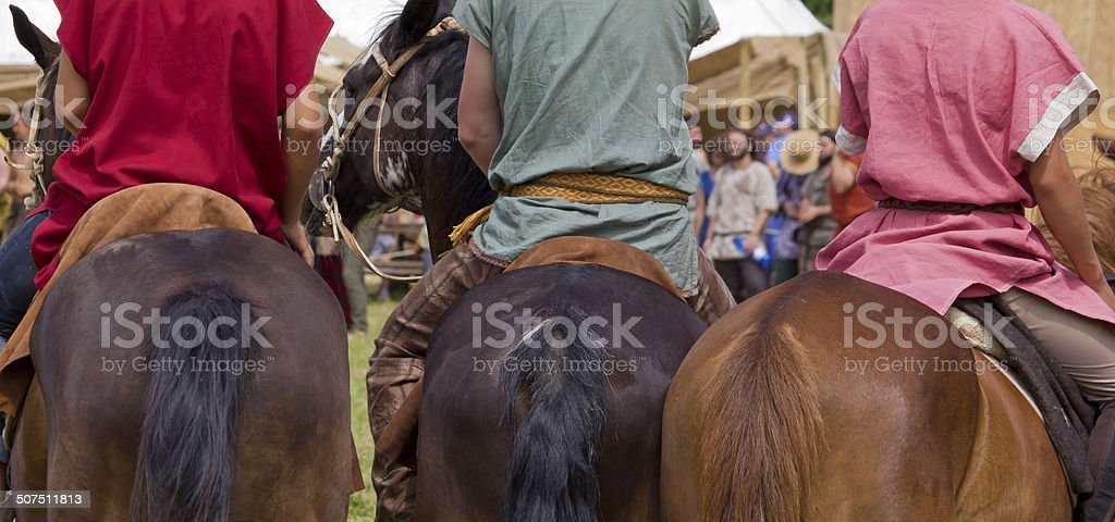 Three Horsemen during a Roman Reenactment stock photo