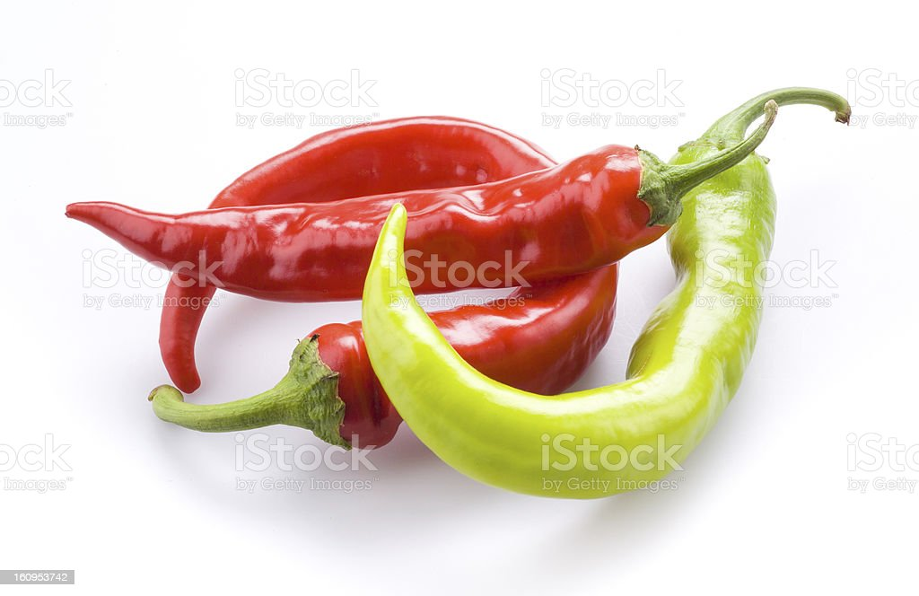 Three hot chili peppers isolated on a white background stock photo