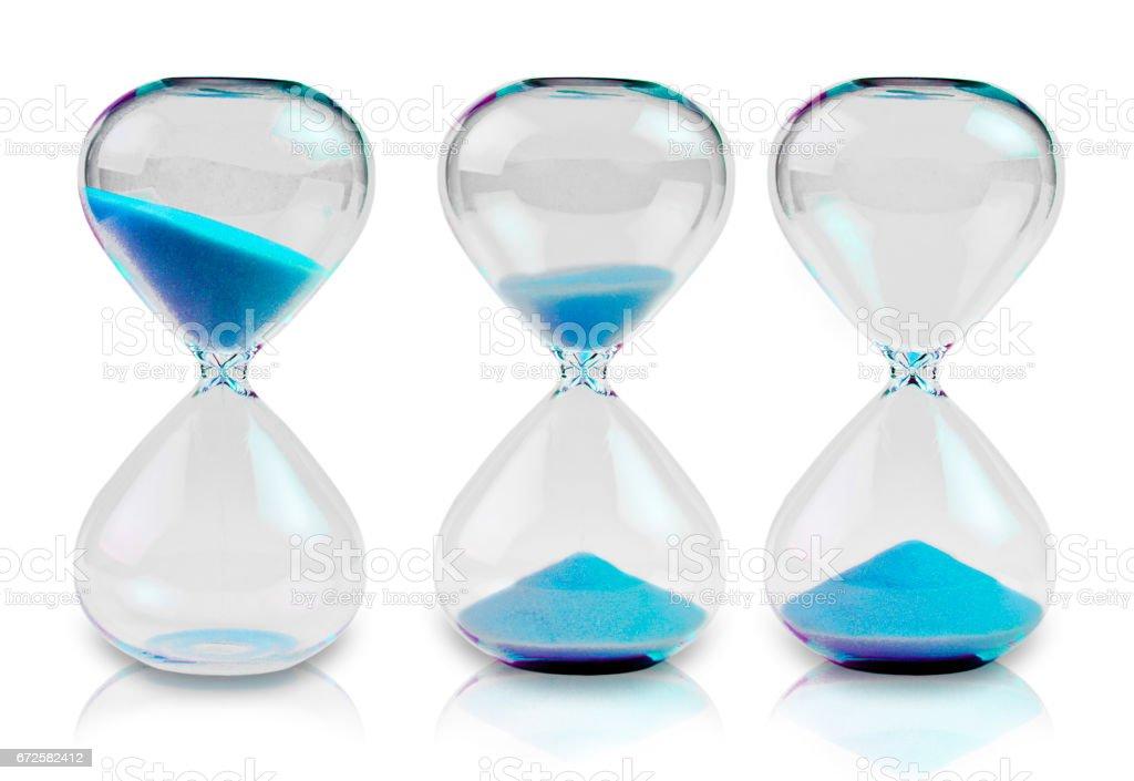 Three Hourglass stock photo