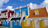 Three Brightly Painted Hoses in Willemstad on the Caribbean Island on Curacao
