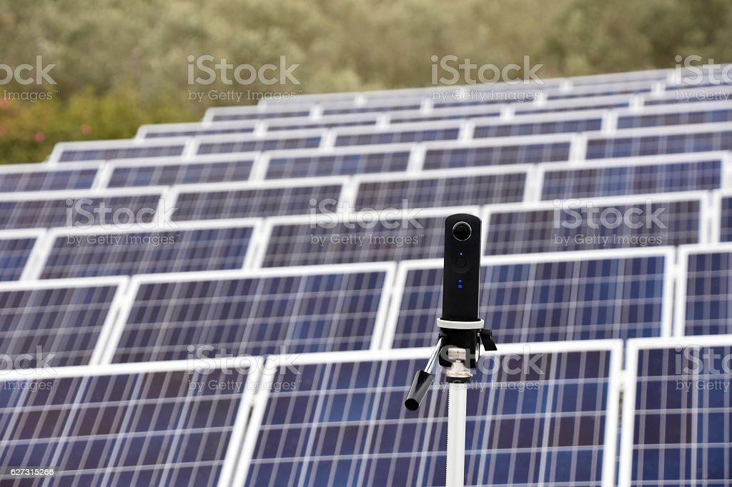 Three hundred sixty Camera  on solar roof stock photo