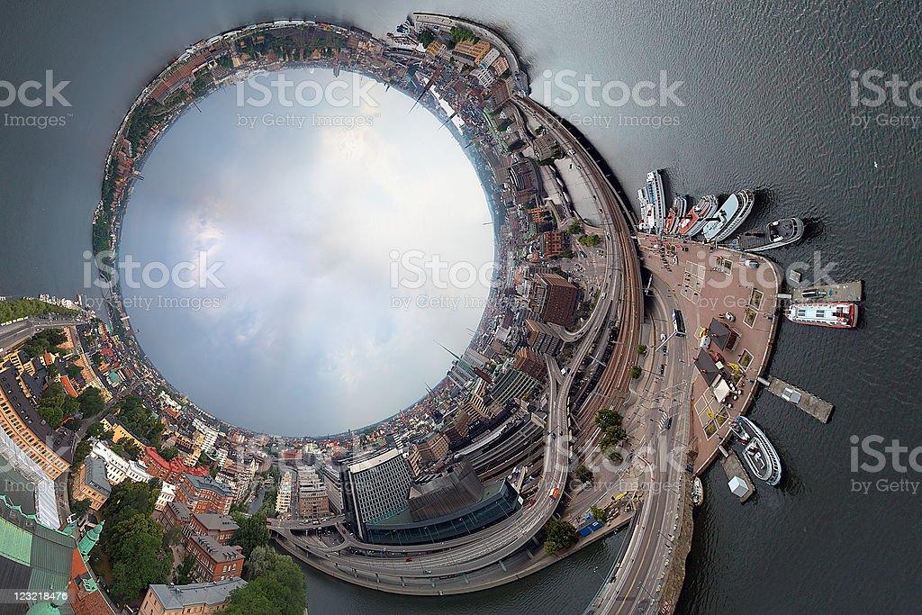 Three hundred sixty degree panorama of Stockholm royalty-free stock photo
