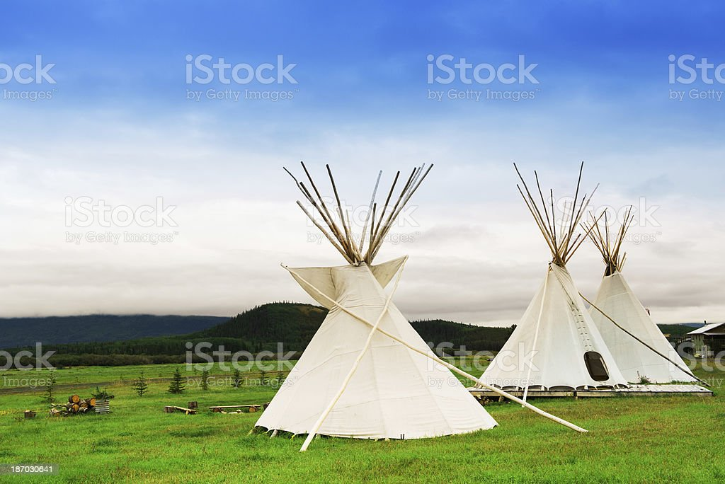 Three Huts stock photo
