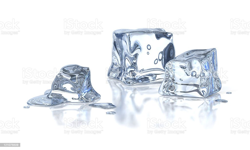 Three ice cubes melting against a white background stock photo