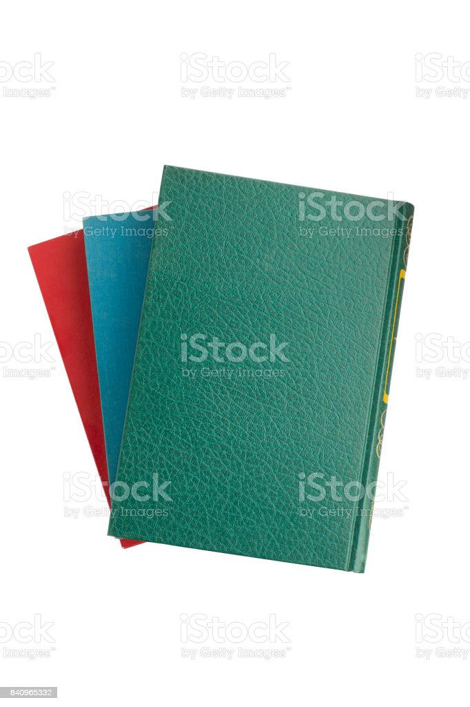 three in color book stock photo