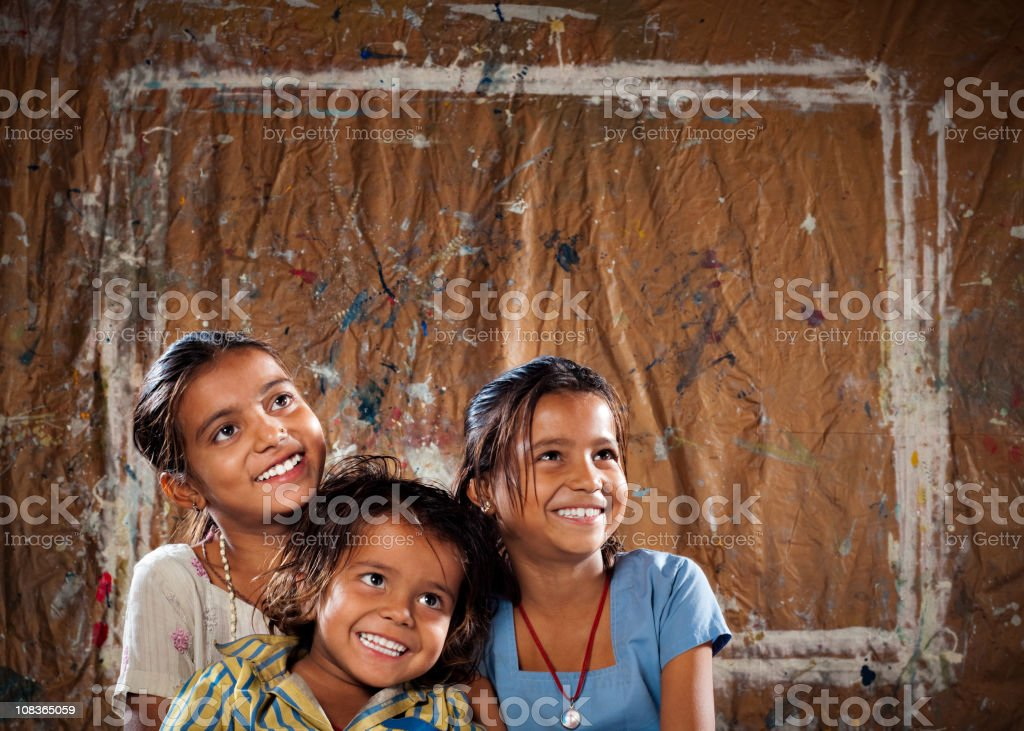 Three Indian Siblings royalty-free stock photo