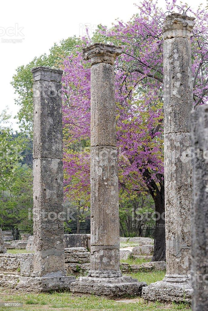 Tre colonne ioniche da Theokoleon a Olympia antico foto stock royalty-free
