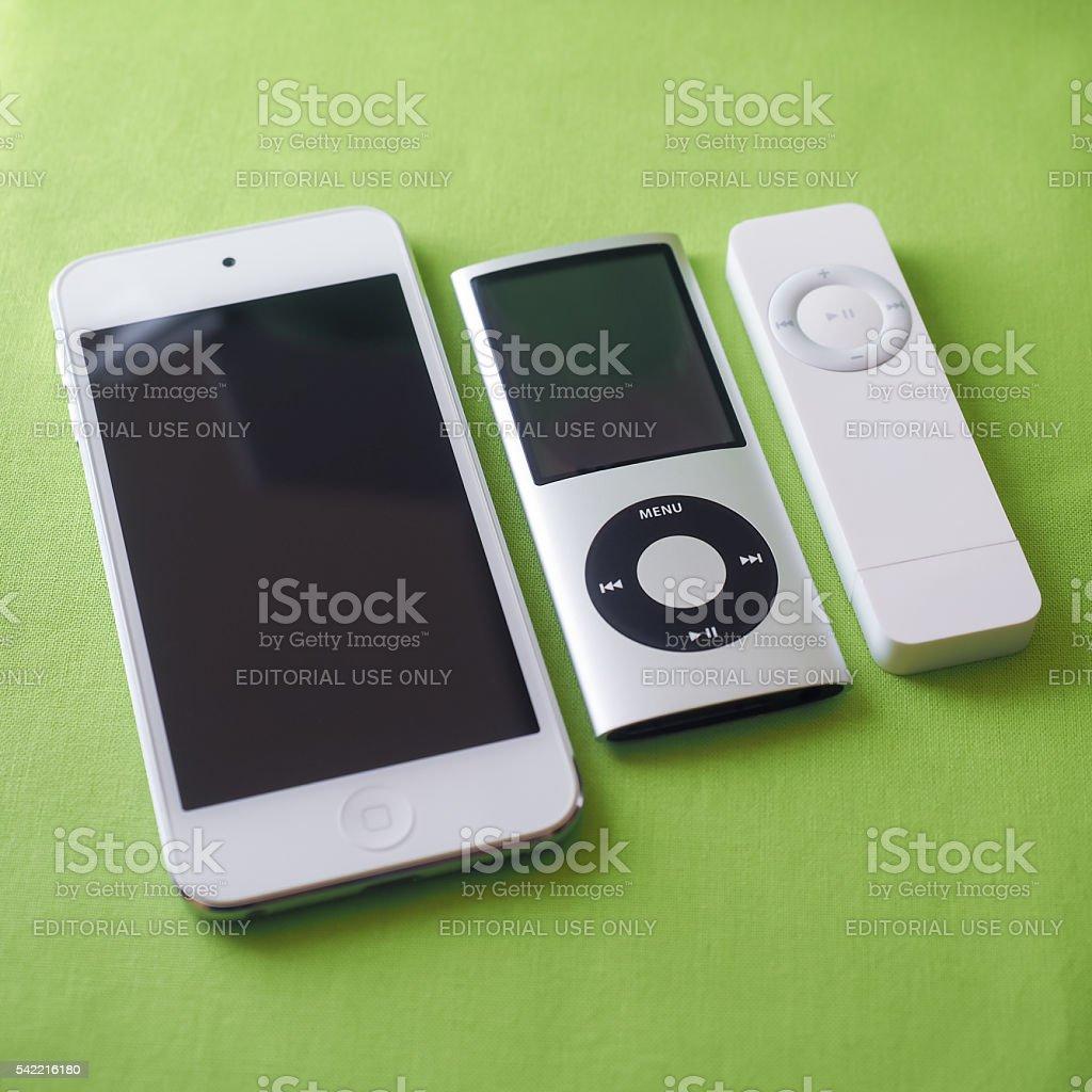 Three iPods stock photo