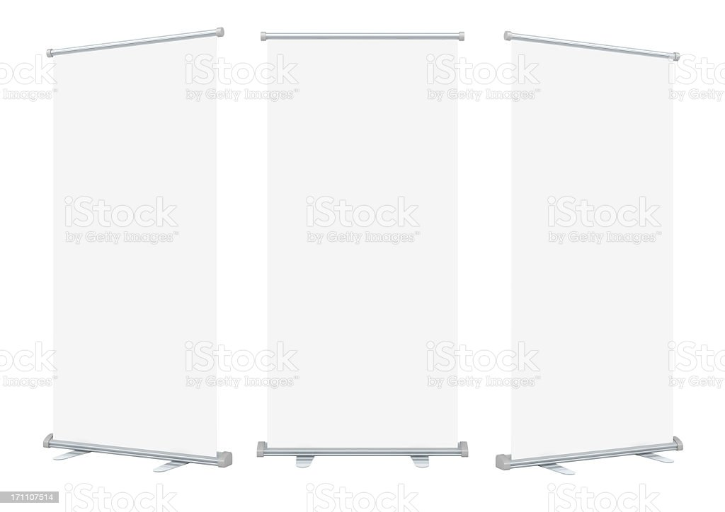 Three isolated blank roll up banner displays stock photo