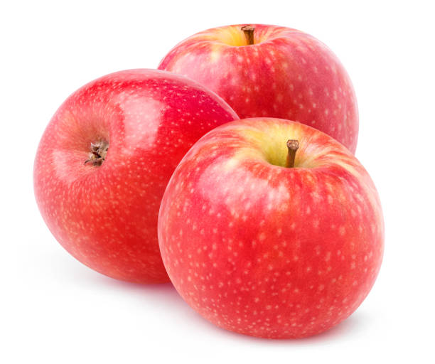 Three isolated red apples stock photo