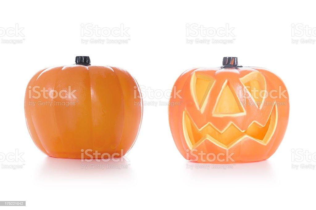 Three jack O'Lantern Pumpkins -  Halloween decoration royalty-free stock photo