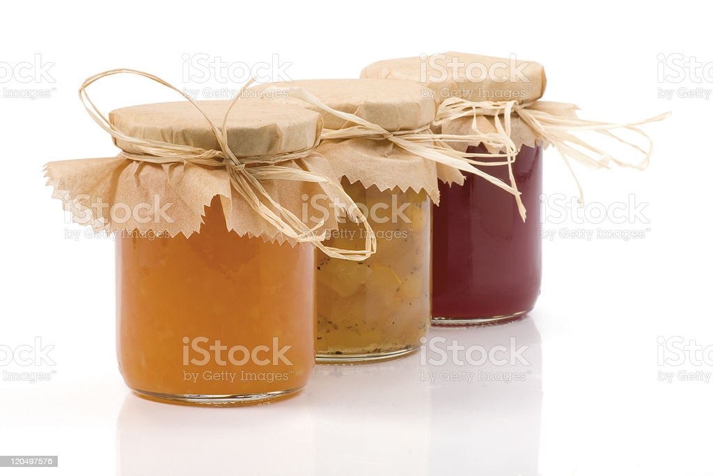 Three Jam jar isolated stock photo