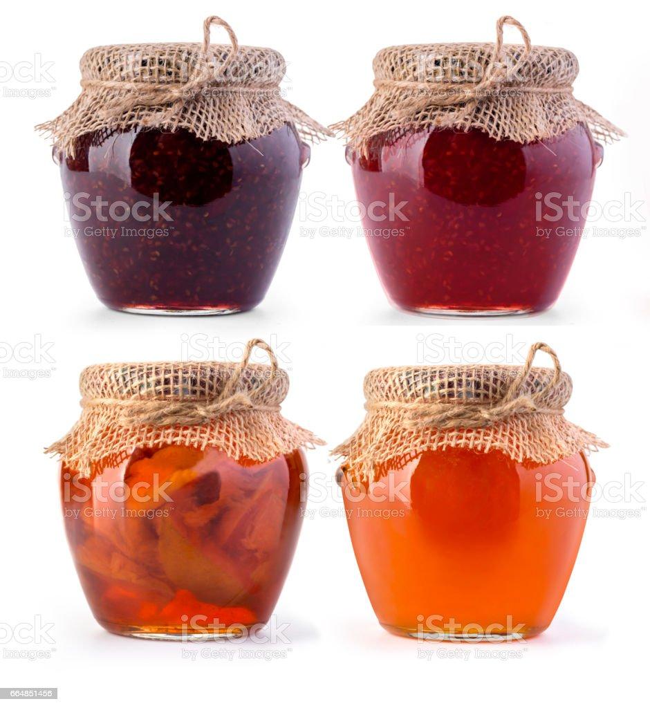 Three jar of jam and honey stock photo