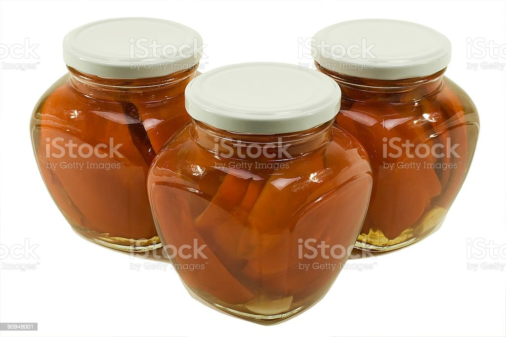 Three Jars of Red Peppers Marinated royalty-free stock photo