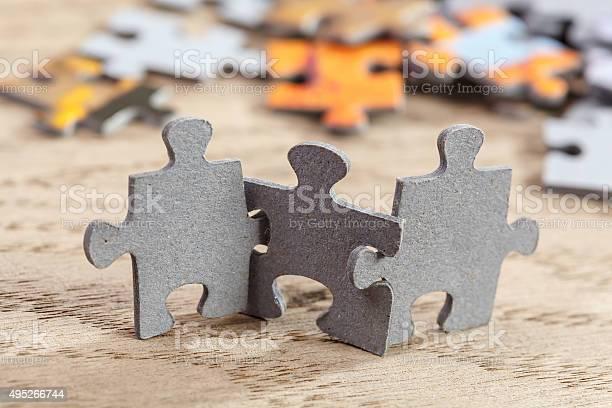 Three jigsaw puzzle pieces on table picture id495266744?b=1&k=6&m=495266744&s=612x612&h=fwik4pdufv9js2vkyuj0smfkttm5svdqooswsdvj9sy=