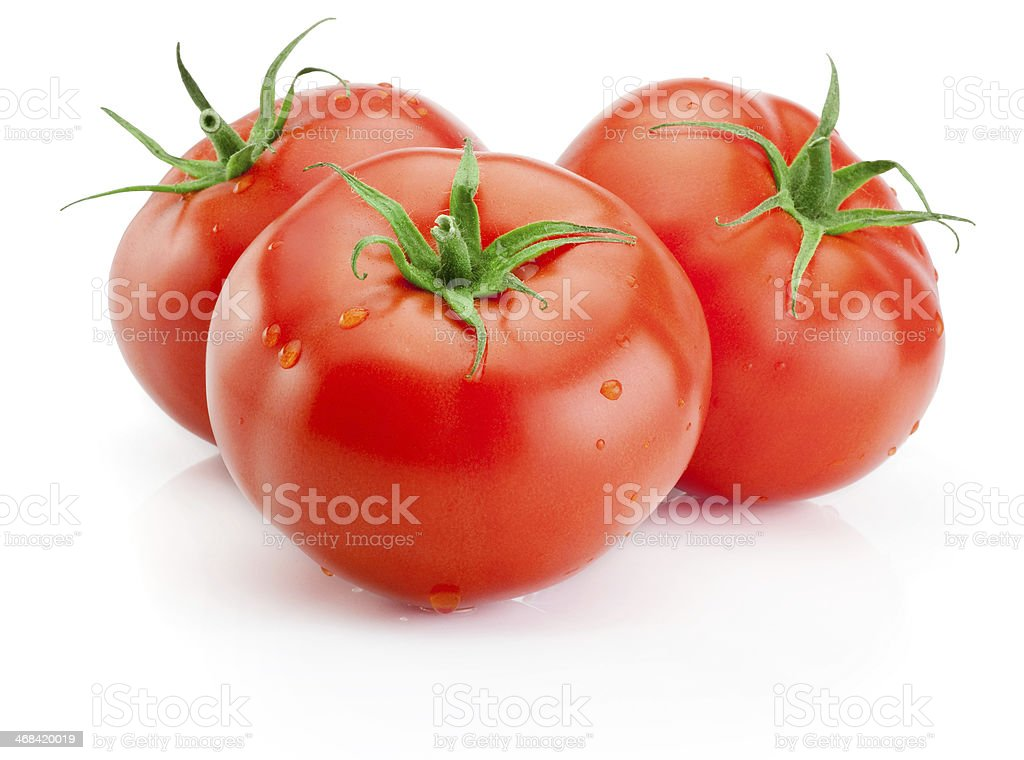 Three Juicy wet tomatoes isolated on white background stock photo