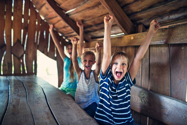 Three kids cheering inside of a tree house stock photo