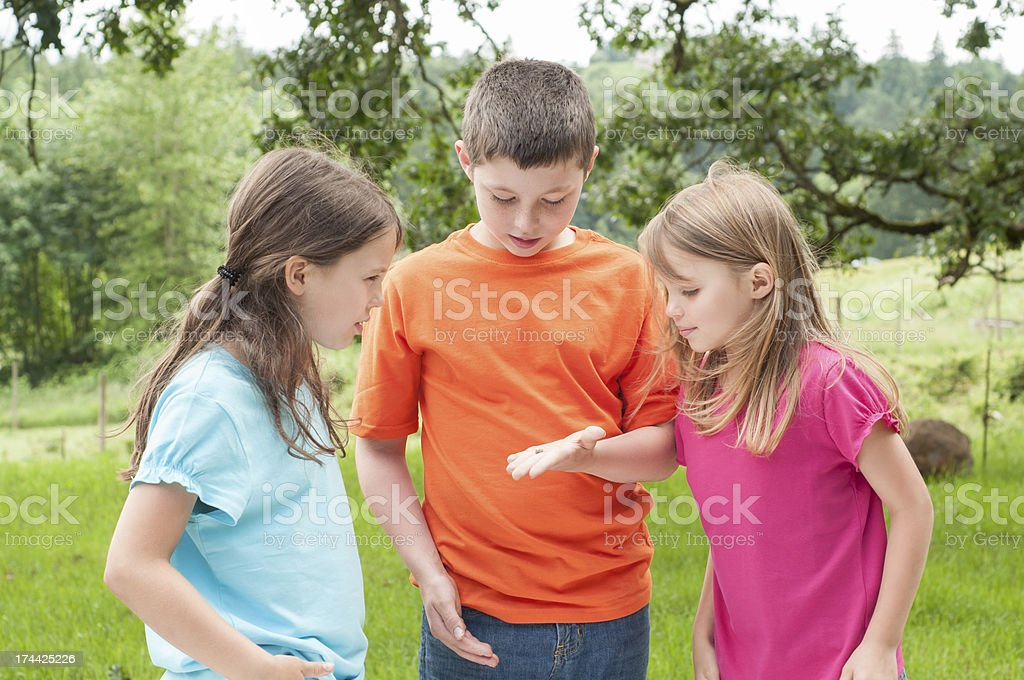 Three Kids Talking royalty-free stock photo