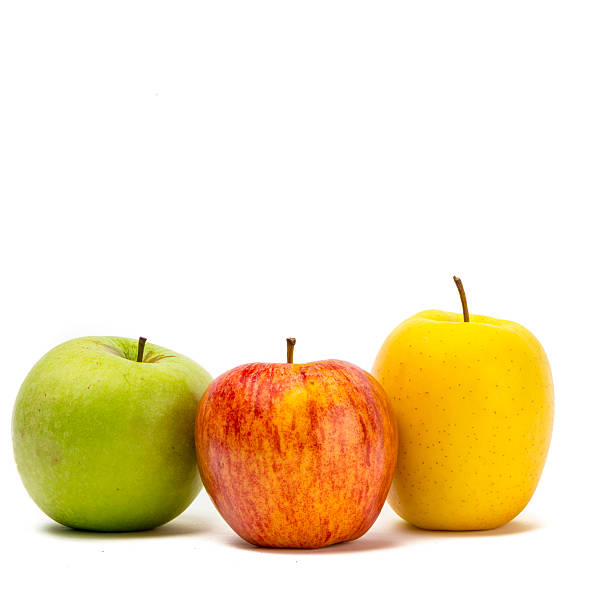 Three kind of apples over white stock photo