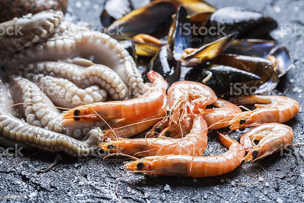 Three kinds of fresh seafood royalty-free stock photo