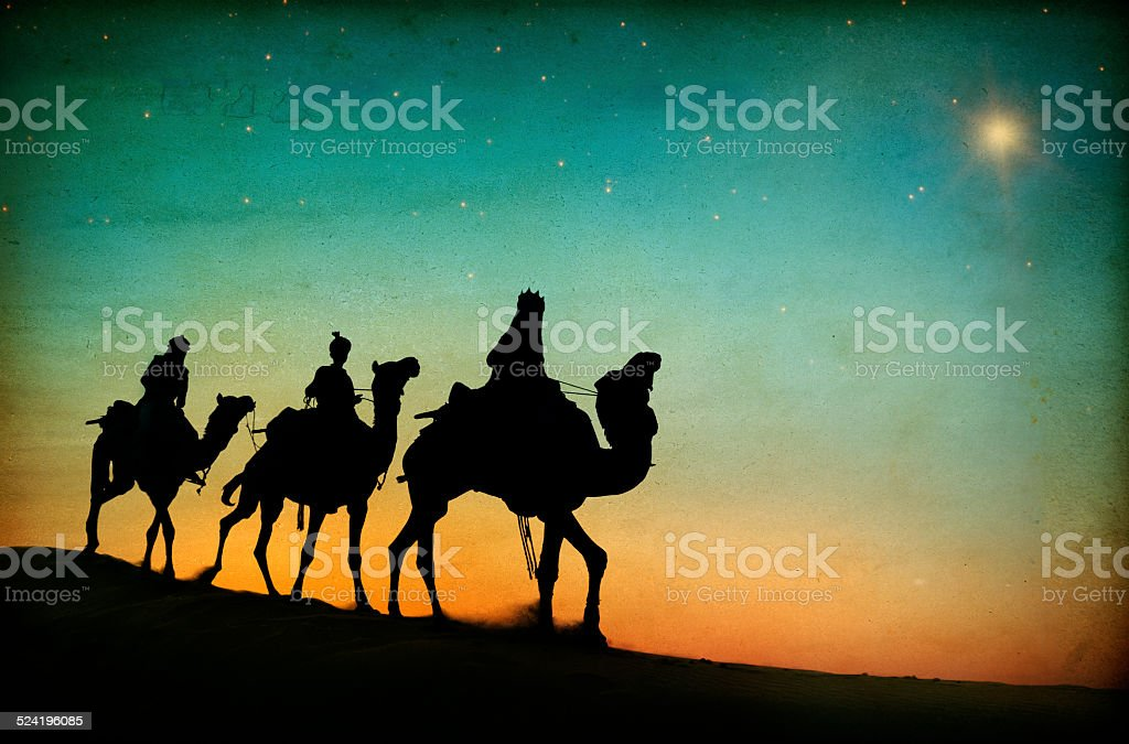 Three Kings Desert Star of Bethlehem Nativity Concept stock photo