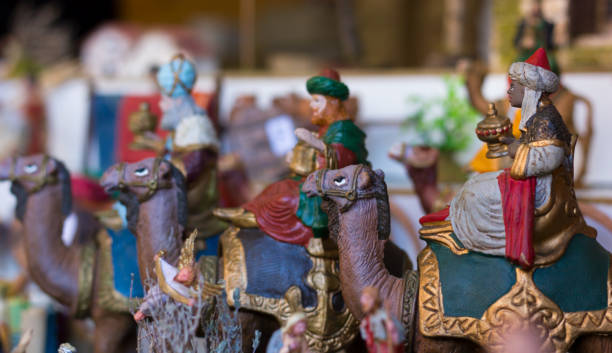 Three Kings Nativity Set on camels stock photo