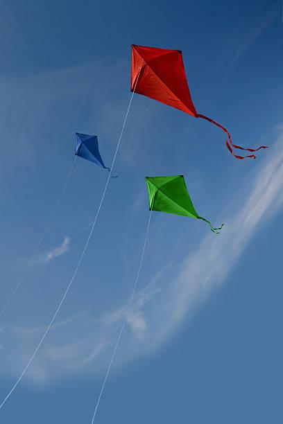 Three kites stock photo