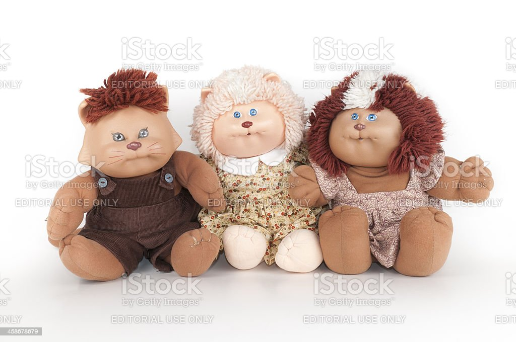 Three Koosa Stuffed Animal Cabbage Patch Toys royalty-free stock photo