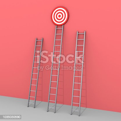 938669816 istock photo Three ladders but only one leads to success 1035030590