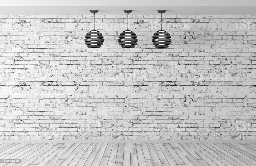 Three lamps over brick wall 3d rendering royalty free stock photo
