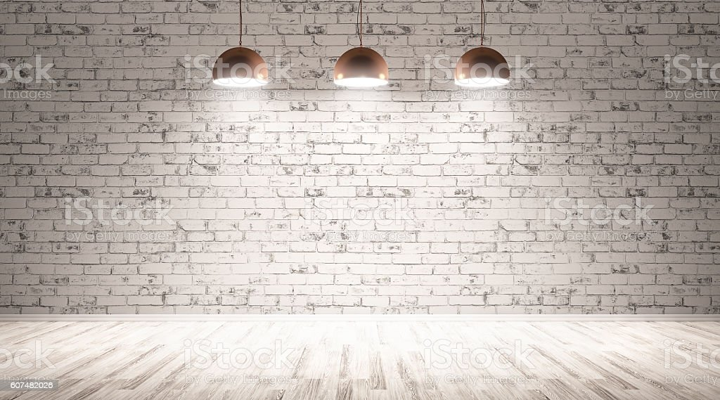 Three lamps over brick wall 3d rendering stock photo