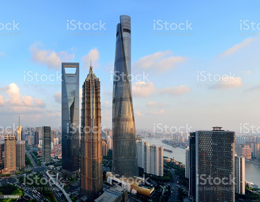 Three Landmark Skyscraper at sunset, Shanghai stock photo