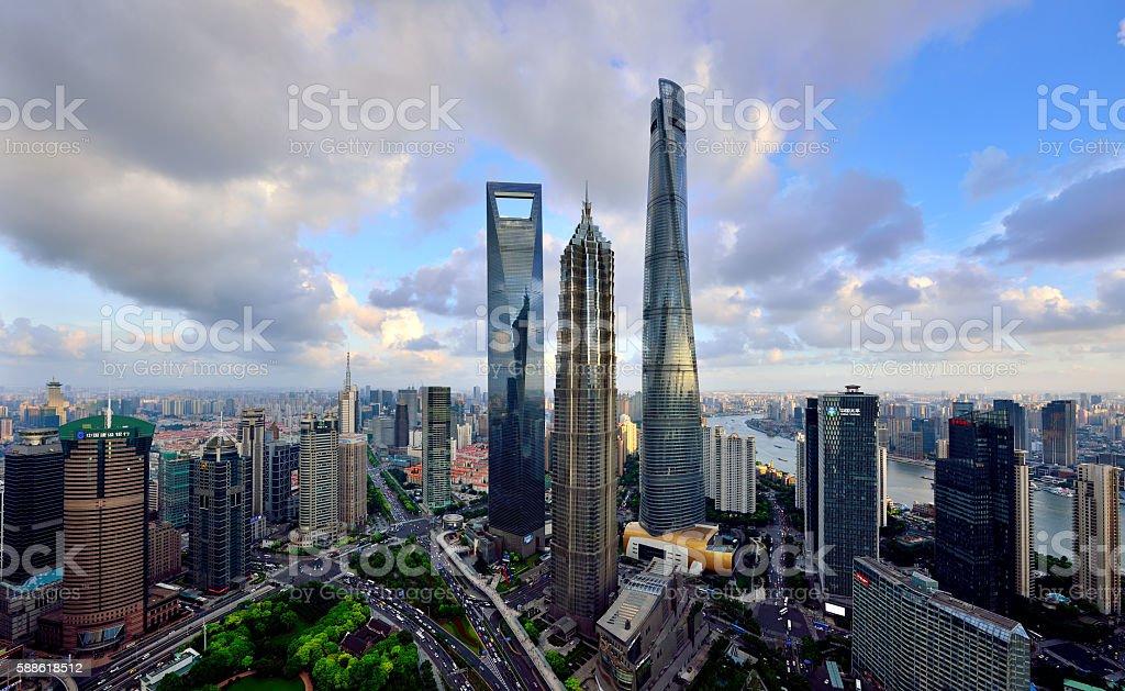 Three Landmark Skyscraper, Shanghai stock photo
