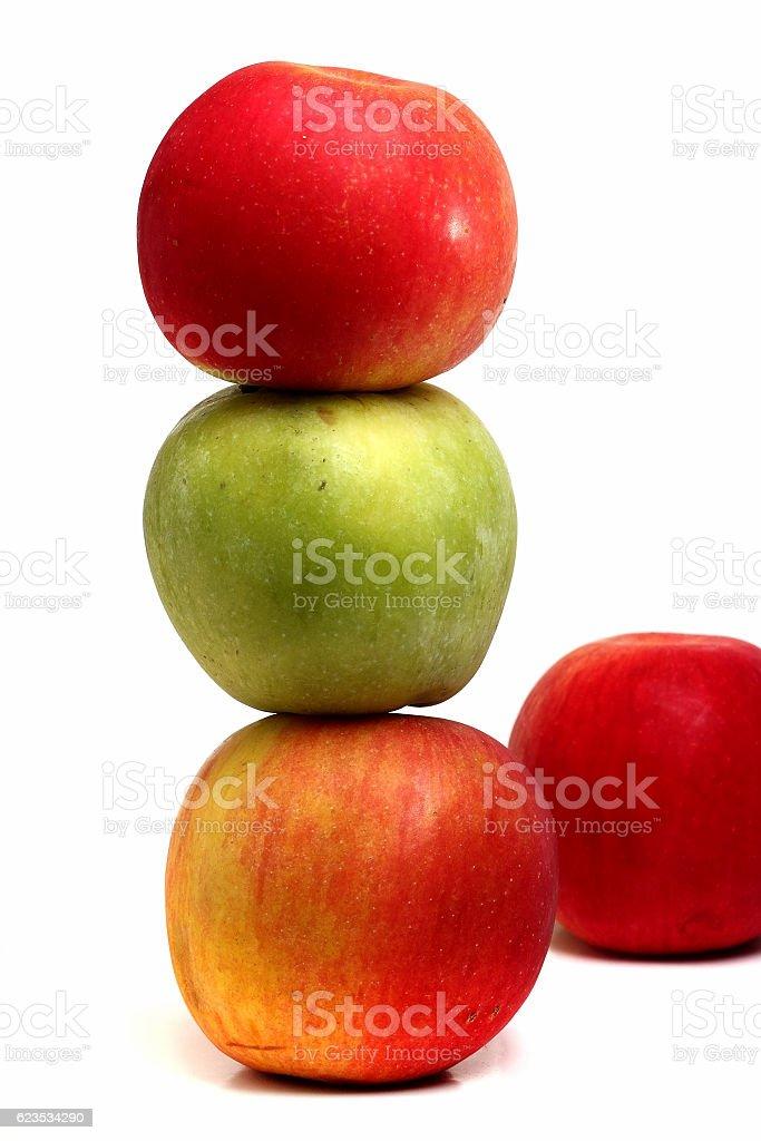 three large apple isolated on white background stock photo