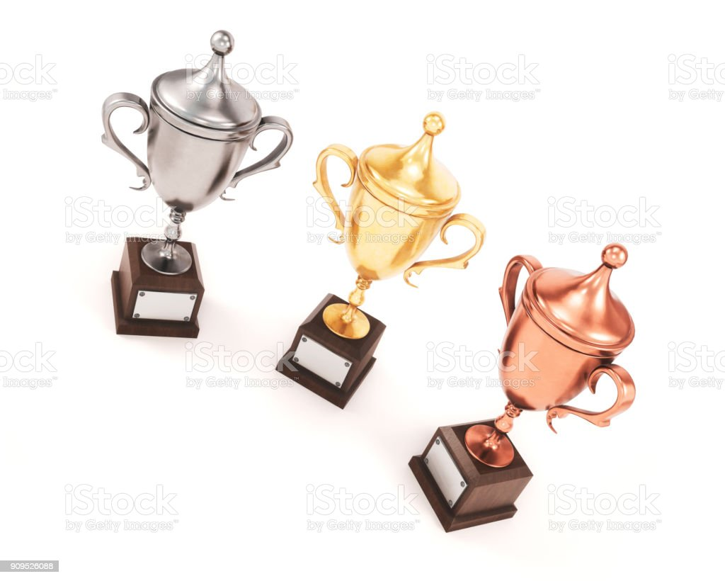 Three League Cup on white background. Gold, silver and bronze cups. 3d rendering stock photo