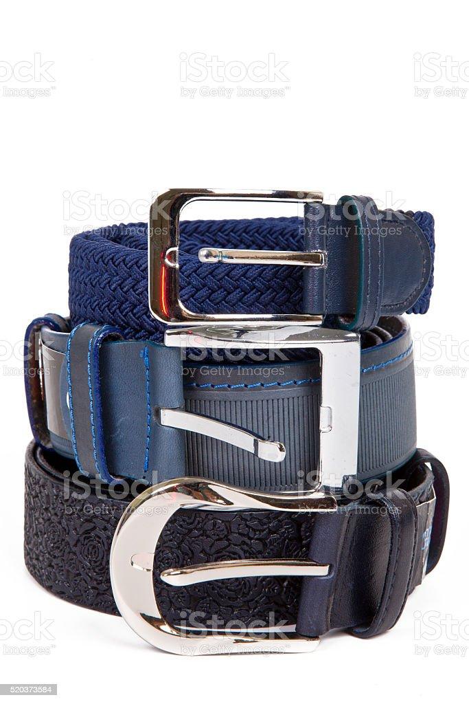 Three leather belt isolated stock photo