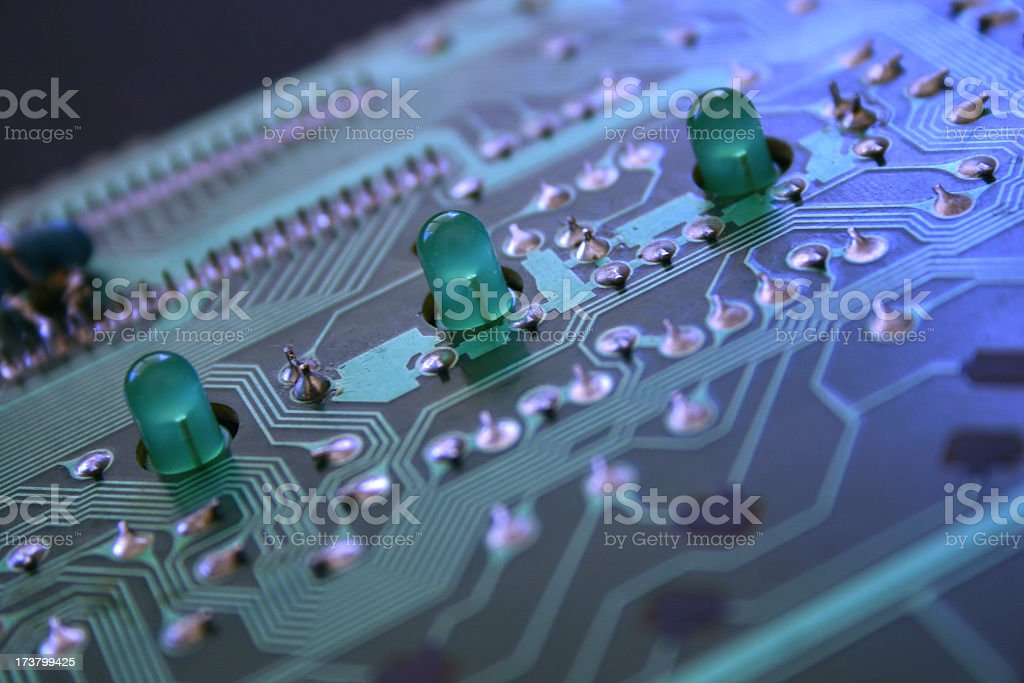 three led lights and circuit royalty-free stock photo